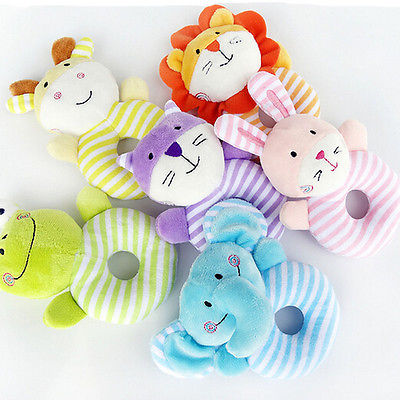 Baby Boy Girl Toys Soft Rattle Plush Blue Lamb Lion Cartoon Animals Sensory Activity Toy Support Drop Shipping