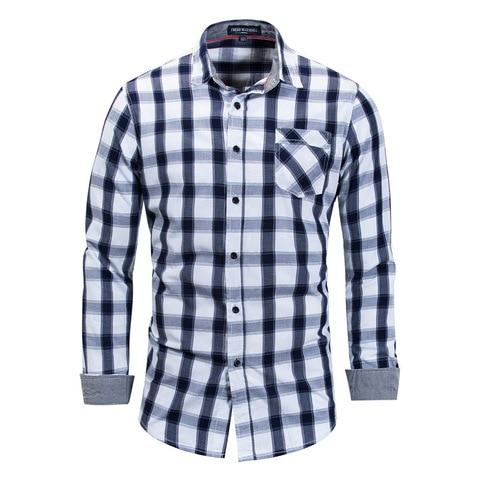 Brand Hot Sell 2018 Summer New Casual Dress Shirt Men Long Sleeve Fashion Plaid Denim Shirt 100% Pure Cotton Brand Clothes FM158 Karachi