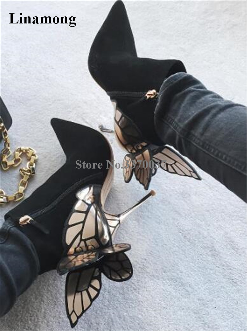 цена на Hot Selling Women Charming Flock Back Gold Metallic 3D Butterfly Embellished Short Boots Pointed Toe Suede Leather Ankle Booties