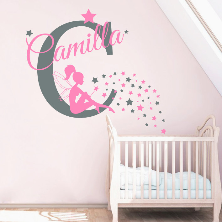 Personalized Bedroom Wall Decor : Name sticker little fairy girls bedroom