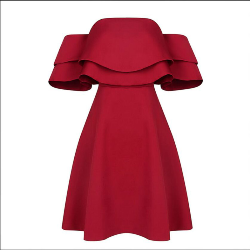 Summer Dress Short Slash Neck Elegant Sexy Off shoulder Ruffles Red Club Party Dress Short For Women High Quality Free Shipping - 4