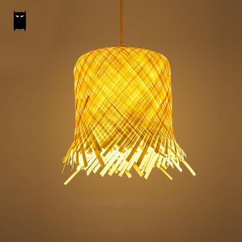 Bamboo Wicker Rattan Miss Skirt Shade Pendant Light Fixture Nordic Art Deco Suspension Lamp Luminaria Salon Dining Table Room