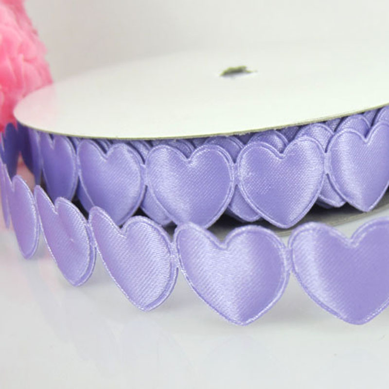 1Roll 20Yards Purple Connect Padded Felt Heart Applique/Craft Wedding Decorations 16mmx16mm