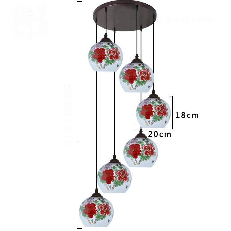 Porcelaine céramique escaliers lumières en céramique motif chinois pendentif lumières tournant escalier lampe Restaurant pendentif lampes ZS18