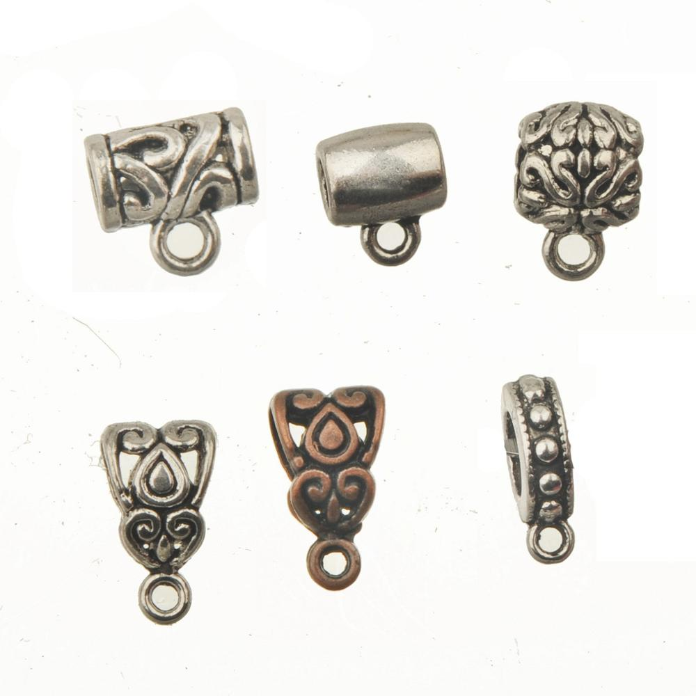 Vintage Copper Bails Pendants Connector Charms Necklace Diy Findings Jewelry Made Round Grass Waterdrop Heart Silver Alloy 40pcs