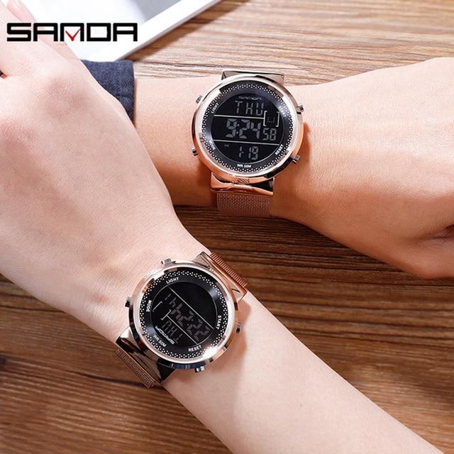 Luxury Rose Gold Women Men Digital Watches Fashion Stainless Steel LED Electronic Wristwatch Waterproof Sports Clock reloj mujer