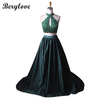 BeryLove Fashion Dark Green Two Pieces Evening Dresses 2018 High Neck Beaded Prom Dresses Formal Evening Dress Cheap Party Gowns