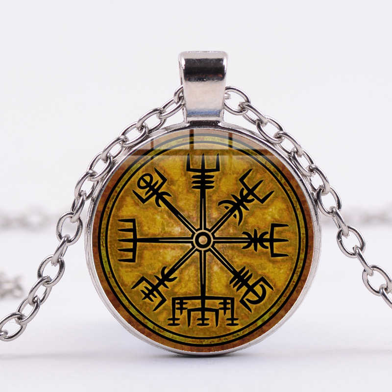 Азиатских Винтаж Viking ожерелье-Компас Trinity символ Мощность скандинавской руны с живописным узором Стекло кулон Цепочки и ожерелья Для мужчин Vikinger амулет