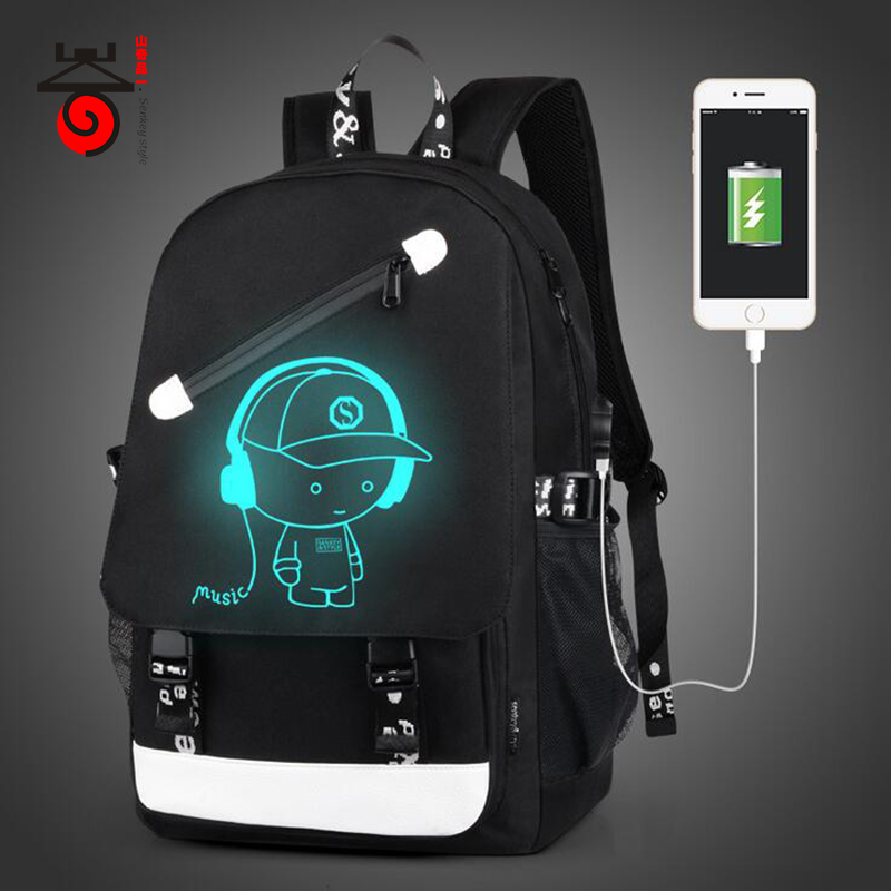 Senkey style Men Backpack Fashion External USB Charging Laptop Mochila Cartoon Anime Student Luminous School Bags For Teenagers senkey style designer backpack men high quality 2017 waterproof leather retro laptop backpack women school bags for teenagers
