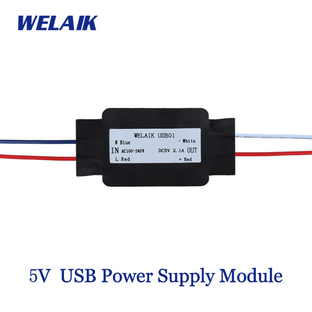 WELAIK 5 v USB אספקת חשמל מודול 2.1A נייד טלפון טעינת קלט AC100 ~ 240 v פלט מתח DC 5 v 2100mA USB01