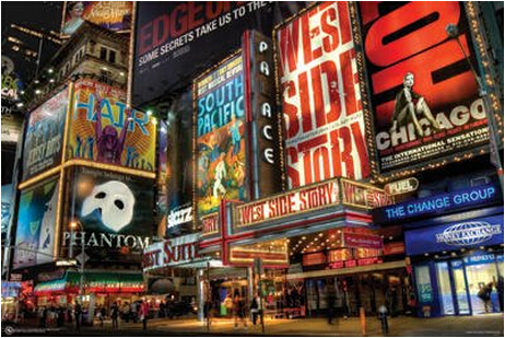 New York City Broadway Times Retro Poster, Home Decor Wall Sticker  20x30inches Free Shipping J62
