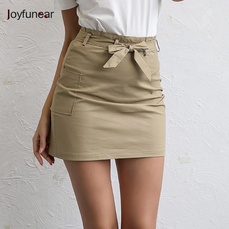 aa6275286b69c Joyfuner 2018 Fashion Vintage Khaki Women Skirt High Waist Denim Summer  Female Casual Mini Skirt With Pocket Belt Pencil Skirts