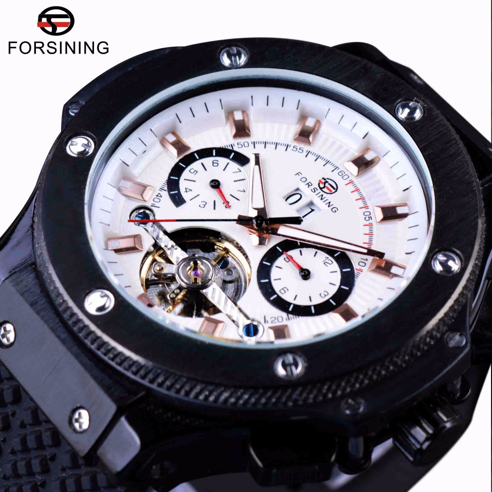 Forsining Matte Scrub Tires Fashion Military Design Tourbillion Design Mens Male Wrist Watches Top Brand Luxury Automatic Watch zcc ct brand new parting and grooving tools qefd2525r17 cnc turning tool holder
