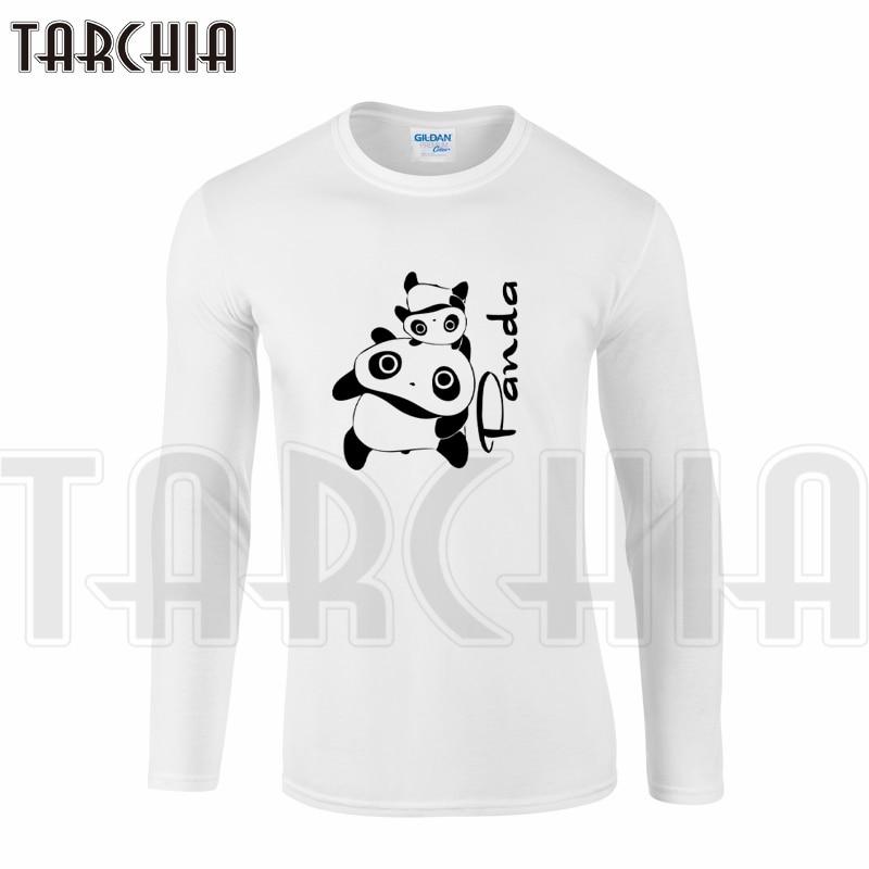 TARCHIA Brand Eur Size Free Shipping Long Sleeve Men T-Shirt 100% Cotton Plus Size Funny Cute Panda Lovely Tee Lovers Wear Boy