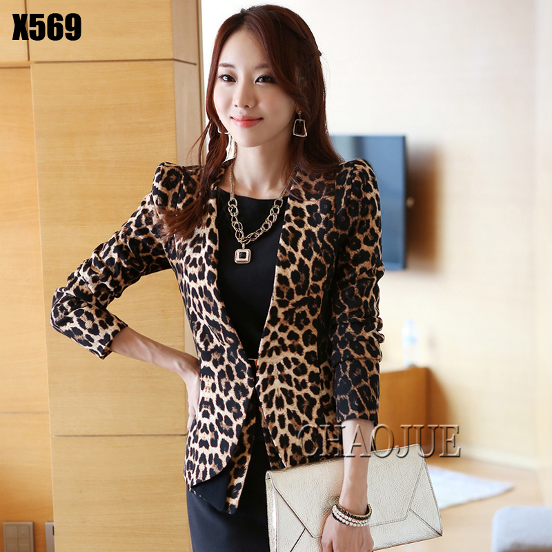 Hot 2018 Spring and Autumn New small suit thin coat Korean version leopard shrug V collar Slim female Blazers suit coat S-3XL 2016 new arrival women s luxury jacket short paragraph korean version nagymaros collar female was thin tide coat mz575 page 4 page 5