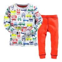 Littlemandy 2018 Car Fleece Tee+Pants Sweater Sets Baby Boys Children's Sport Suits Kids Tracksuit Thick Warm Clothing 2pcs