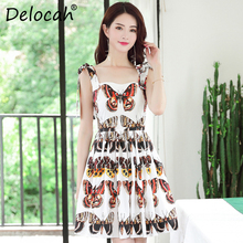 Delocah 100% Cotton Fashion Designer Summer Dress Women Bow Spaghetti Strap Backless Vintage Butterfly Printed Mini