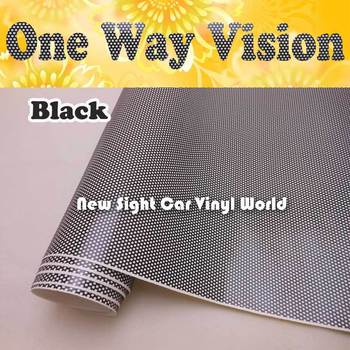 Printable Double Black One Way Vision Perforated Window Vinyl Perforated Window Graphic ECO Solvent Printer Size:1.07x50M/Roll