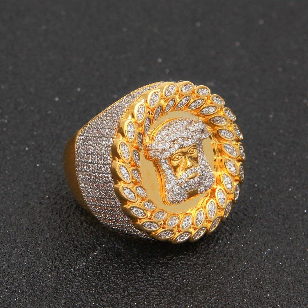 UWIN jésus tête anneaux soufflé Marine Micro Bling glacé cubique Zircon luxe mode Hiphop bijoux cadeau