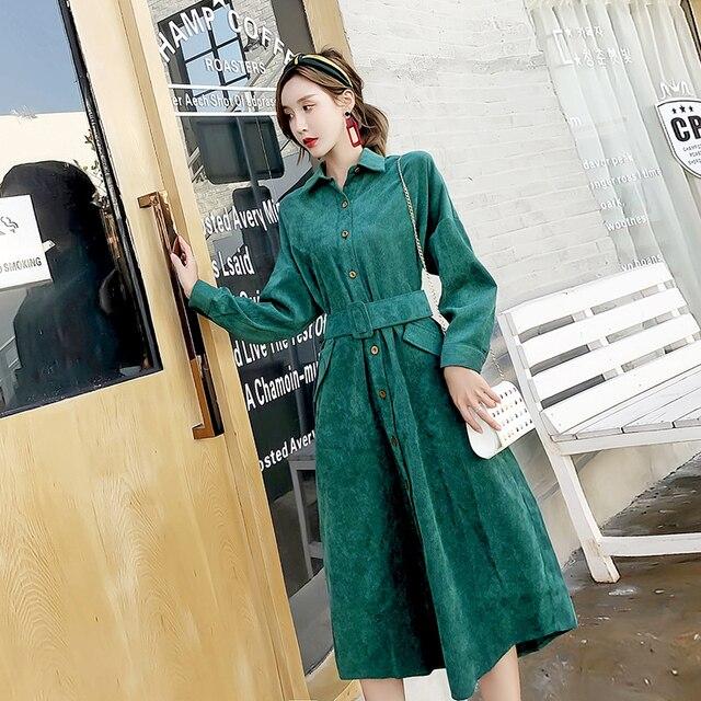 Korean Fashion Autumn Winter Women Long Shirt Dress Vintage Dark Green  Casual Midi Vestido Elegant Corduroy ceee02a51