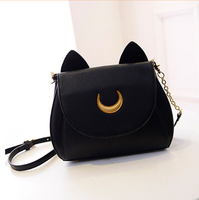 Women Shoulder Bag Black Leather Small Sailor Moon Chains Sling Bag Cute Kawaii Cat Crossbody Bags