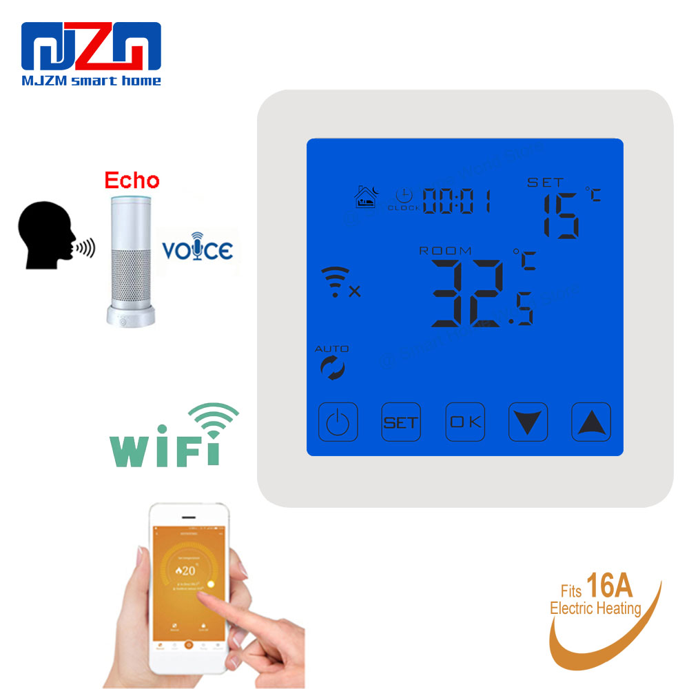 MJZM 16A08 1 WiFi Thermostat for Warm Electric Underfloor Heating Alexa Voice Control Indoor Air WiFi