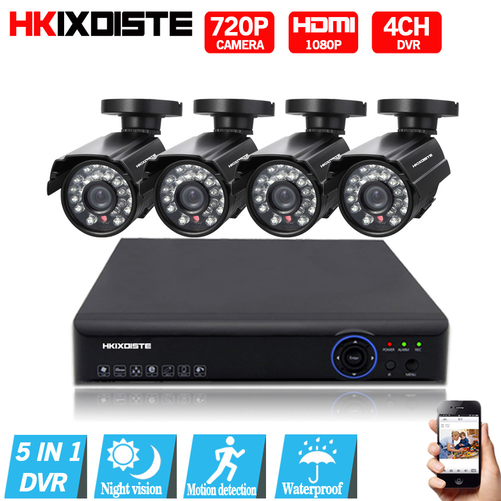 AHD 4CH CCTV System 720P HDMI DVR Kit Indoor Outdoor corridor hotel Security Waterproof Night Vision 4 Cameras Surveillance Kits sannce hd 4ch cctv system hdmi ahd dvr kit 720p outdoor security waterproof night vision surveillance kits with 4 cameras 1tb