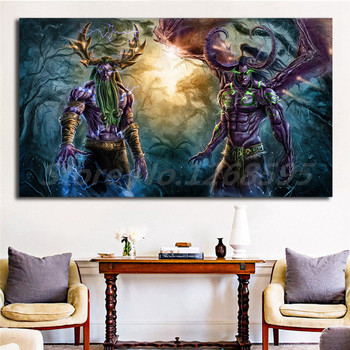 World Of Warcrafts Illidan And Malfurion Stormrage Art Canvas Poster Painting Wall Picture Print Home Bedroom Decoration Artwork image
