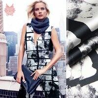 Diseñador Op Art print spandex tela de seda para el vestido geométrico stretch tela de seda de tela para coser tela tejido 19mm SP3675