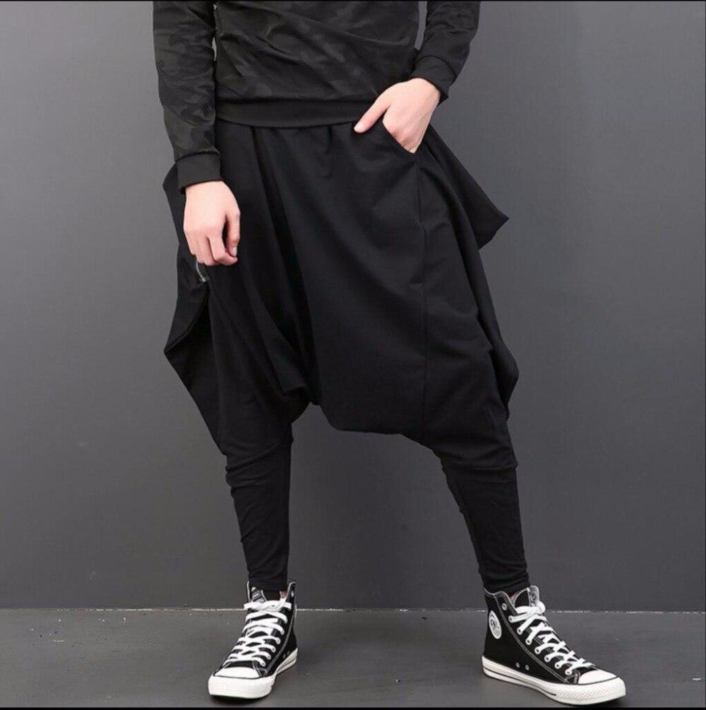 Bajo Personalidad Harem Moda Los Negro De Nueva Loose Otoño Hombres Leggings Invierno La Entrepierna Pies E Grado Traje Pantalones Viga Oq76wzA