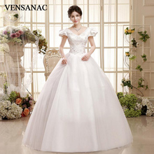 VENSANAC 2018 Pearls V Neck Sequined Ball Gown Lace Wedding Dresses Crystal Short Cap Sleeve Backless Bridal Gowns