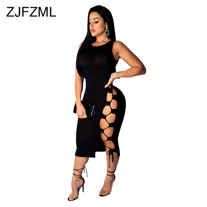 Cut Out Sexy Plus Size Dresses Women Fashion Red O Neck Sleeveless Bandage Midi Dress Summer Black Backless Slim Fit Party Dress