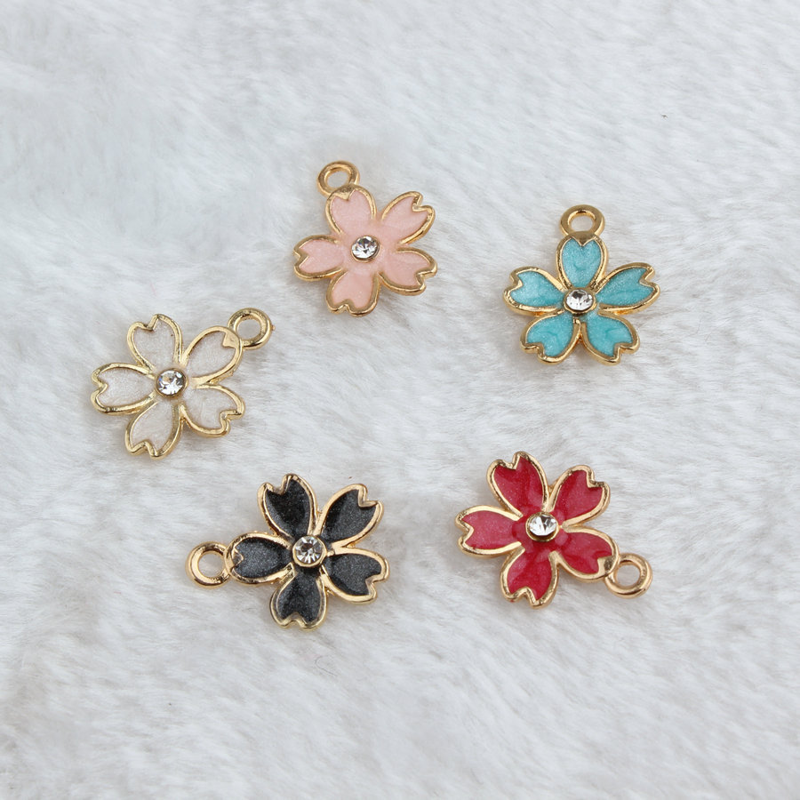 30pc Alloy Oil Drop Rhinestone Flower For Jewelry Making Materials Gold Tone Enamel Pendant With Jump Rings Necklace Components