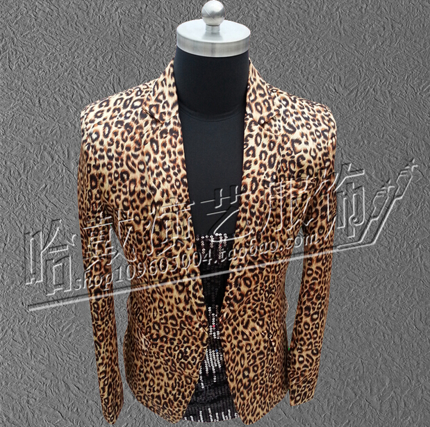 EXO Nightclub Bar Men'S Casual Leopard Suit Jacket Men Singers DJ Blazer Dancer Stage Clothing Dress Costumes !