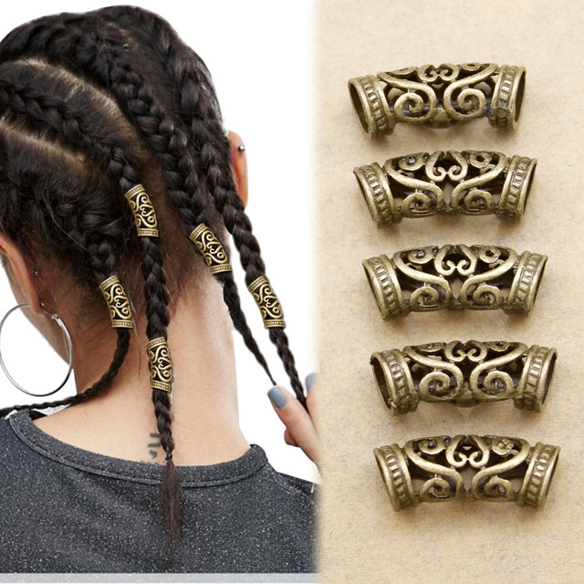 5x Norse Viking tourbillon barbe perle Rasta Dreadlocks tresse tête cheveux  robe Clip Pin accessoires noël