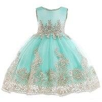 Light Green Girls Princess Dress Sleeveless Ball Gown Floral Tulle Dress for Kid Children Wedding Birthday Party Dress for Girls