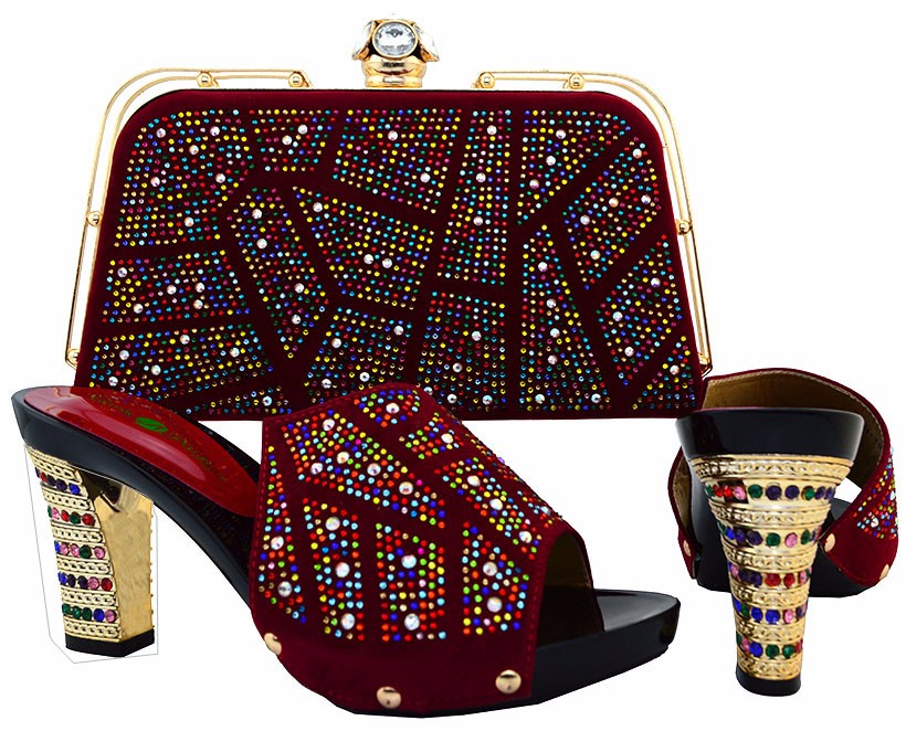 ФОТО Italian Shoes And Bag To Matching Pumps Shoe For Party Heels  African Women Shoes And Bag Set With Stones Wine Color BCH-19