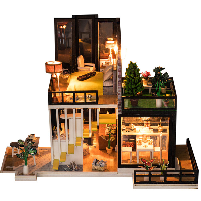 Loft Modern House Dollhouse Miniature Garden Plant Furniture Kits DIY  Wooden Dolls House LED Lights Children