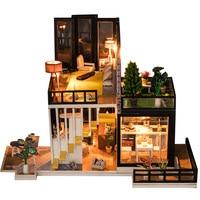 Loft Modern House Dollhouse Miniature Garden Plant Furniture Kits DIY Wooden Dolls House LED Lights Children Birthday Gift