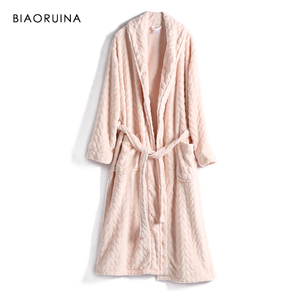Image 1 - BIAORUINA Women All match Red Coral Fleece Solid Robes Female Casual Warm Sleeping Robes Womens Thick Everyday Robes