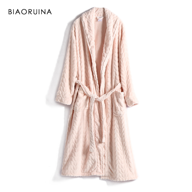 BIAORUINA Women All match Red Coral Fleece Solid Robes Female Casual Warm Sleeping Robes Womens Thick Everyday Robes
