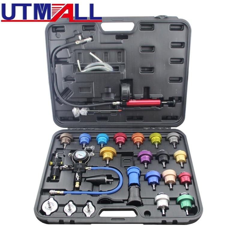 27pcs Universal Radiator Pressure Tester Kit Vacuum Type Coolling System Kit Coolant Purge Refill Kit Aluminum