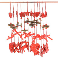 12Pcs Set Christmas Tree Long String Pendant Ornaments Supplies Carving Wooden Christmas Decorations For Navidad Home