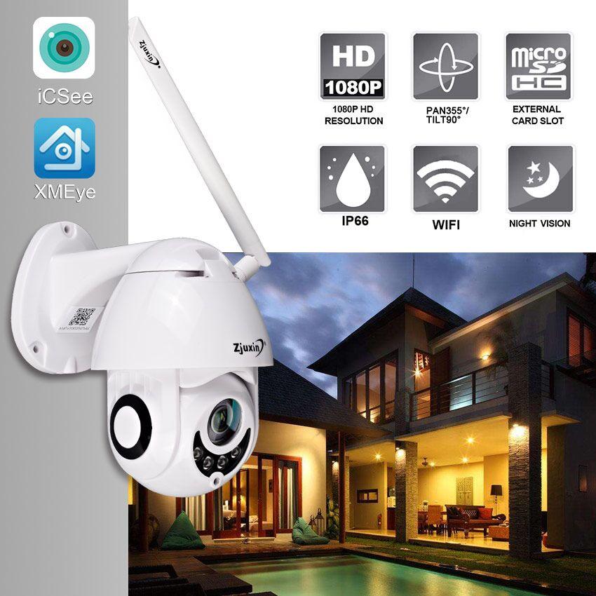 Zjuxin 2MP 1080 P Sem Fio Wi-fi Câmera IP PTZ Speed Dome CCTV Câmera de Vigilância de Segurança Ao Ar Livre IR Onvif ipCam Camara exterior
