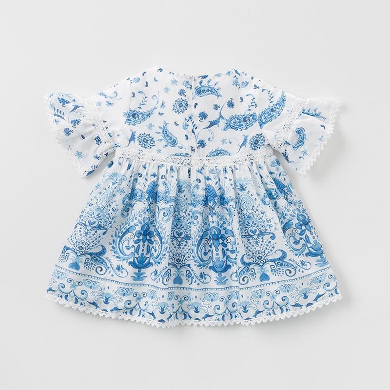 DB10487 デイブベラ夏女の赤ちゃんのプリンセスドレスファッション中国風のプリント子供パーティードレス子供幼児ロリータ服  グループ上の ママ & キッズ からの ドレス の中 2