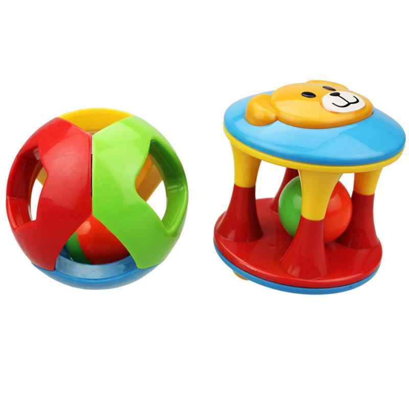 Color Animal Baby Ball Hand Catch Toy Rattles Develop Babys Tactile Senses Toy for 0-3 Y ...