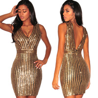 NEW Summer Fashion Gold Sequin Dress Vestidos Mini Sexy Dress Backless Dress Womens Clothing Women Summer
