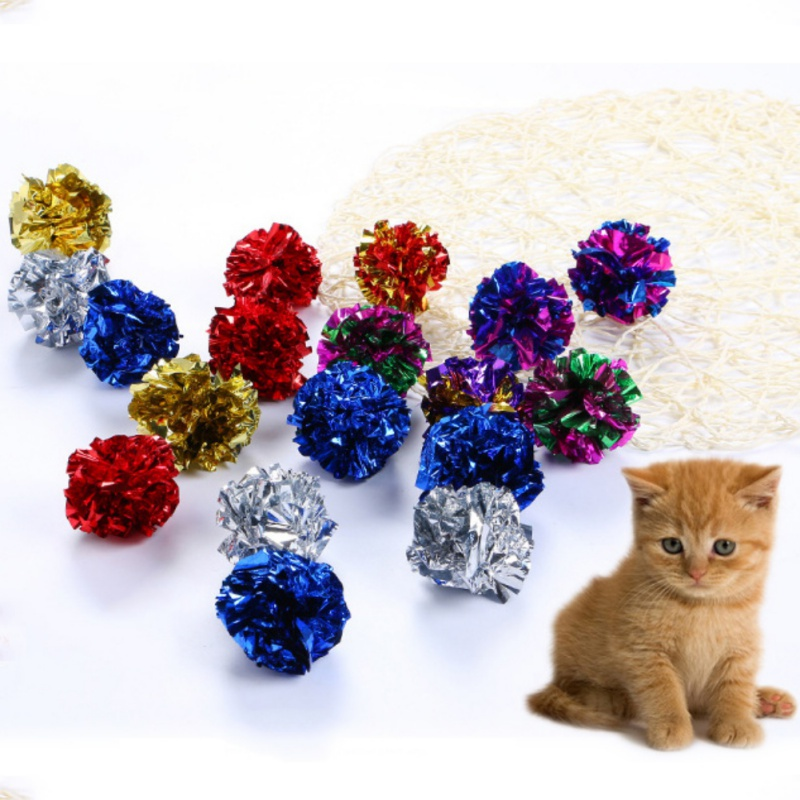 12pcs Cat Toys Colorful Crinkle Crackle Foil Balls Cat Sound Paper Toys Soft And Lightweight Interactive Sound Big Mylar Balls
