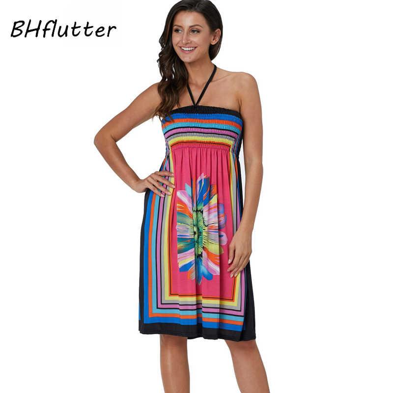 BHflutter сексуальное пляжное платье Для женщин 2019 Новый Цветочный принт Ice Silk Повседневное летнее платье женские; с открытыми плечами Boho платья robe femme