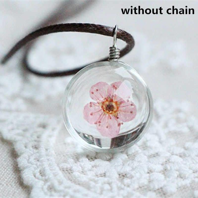2017 Hot Fashion Pha Lê glass Ball Clover Necklace Dài Vòng Cổ Dải Da Chain Pendant Dây Chuyền Nữ May Mắn Chúc Các Locket Jewelry